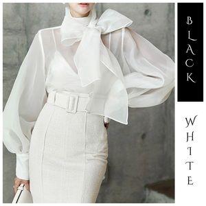 Tops - 🆕 Black & White Sheer Organza Dramatic Bow Top
